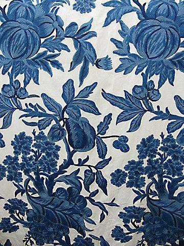 CREWEL FABRIC MELONS/GRAPES #blue-turquoise #jacobean #various #woven-fabrics