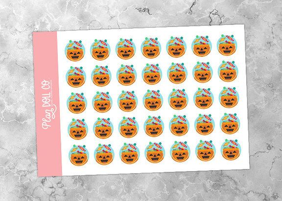 Printable Halloween Stickers | Trick Treat Stickers, Holiday Stickers, Pumpkin Stickers, Bullet Journal, Candy Stickers