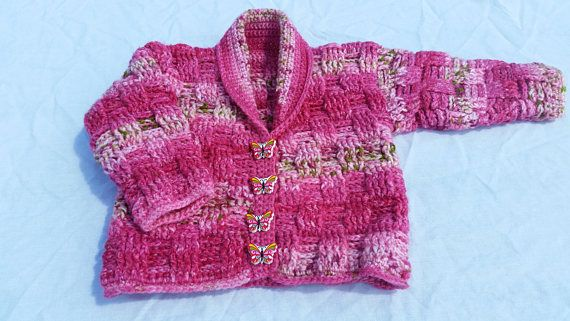 Baby's cardigan 3-6 months hand crocheted  pink shades