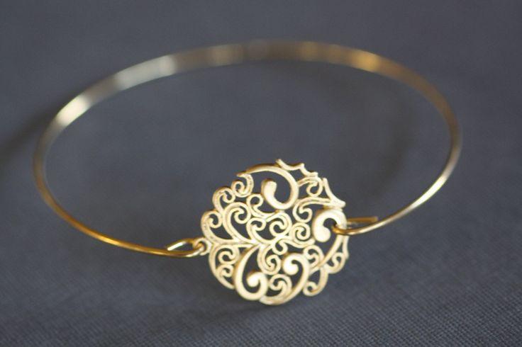 Gold Bangle Bracelet,Paisley Round, Filigree , wire bangle, gold bracelet, minimalist jewelry, bridal bracelet, bridesmaids gifts. $16.00, via Etsy.