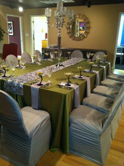 Silver Spandex Ruched Chair Covers, Silver Satin Napkins, Silver Rosette  Table Runner, Moss