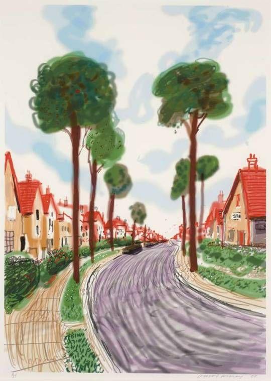 David Hockney (British, b. 1937), Cardigan Road, Brid, 2008. Digital print in colours, 113.6 x 81.2 cm. Numbered 6/25.