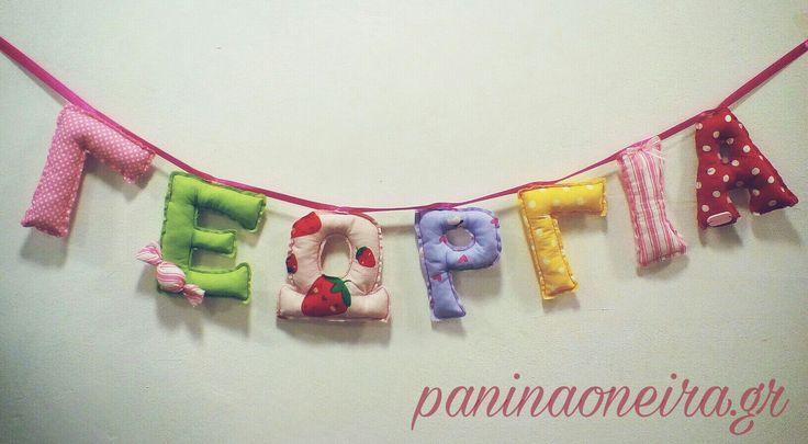 Handmade baby' s name made of cotton fabrics!!! #paninaoneira