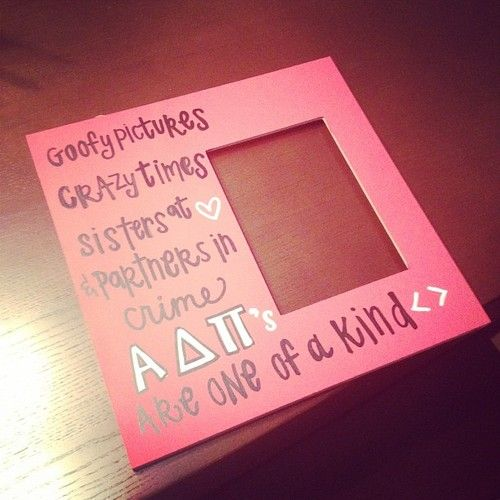 KayDee of courseAlpha Phi, Bid Day, Sigma Kappa, Diy Gift, Alpha Chi, Picture Frames, Biglittle, Big Little, Pictures Frames