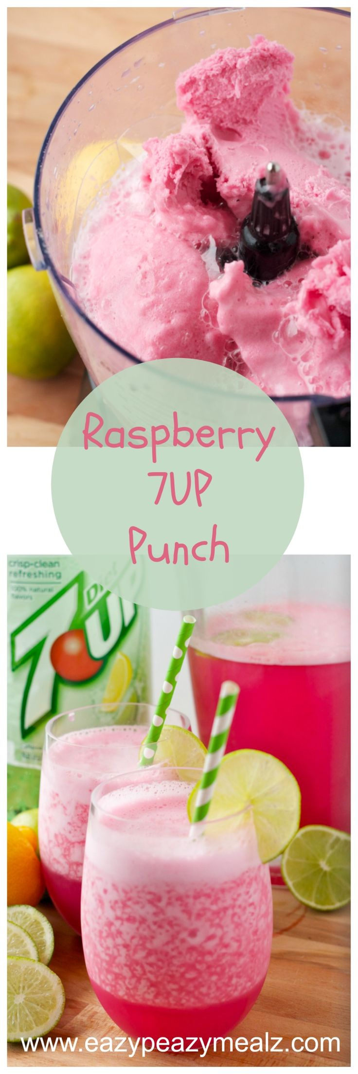 Raspberry 7 Up Punch: This easy to make punch is family friendly and perfect for a party!