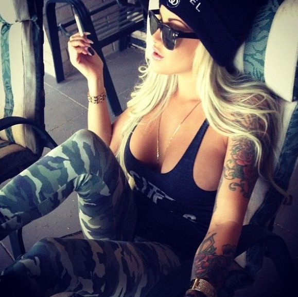 Love this hot punk look - for me though no ciggie/no boobs but love the tights/singlet/beanie and wayfarers together