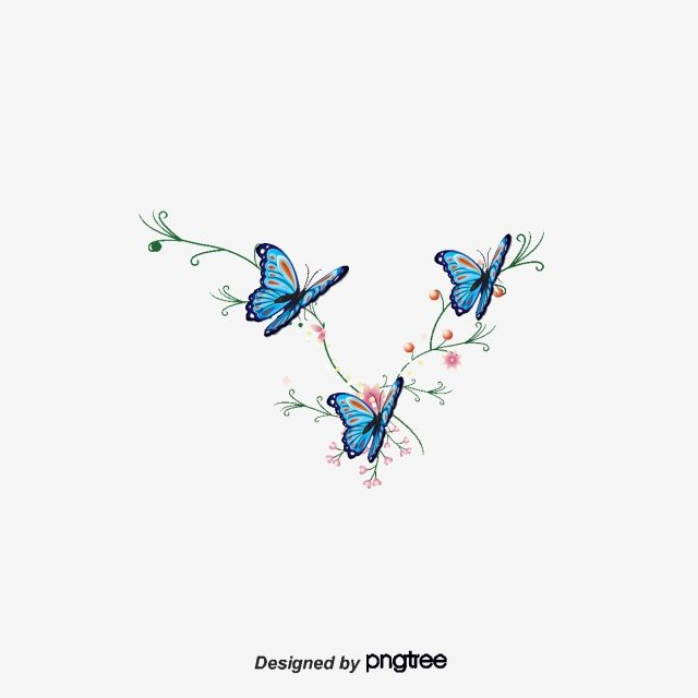 Cartoon Flowers Hand Painted Watercolor Blue Butterfly Vector And Png Butterfly Watercolor Cartoon Flowers Butterflies Vector