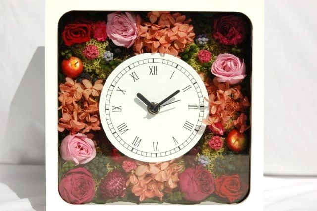 プリザーブドフラワークロック・花の時計Preserved Flower Clock