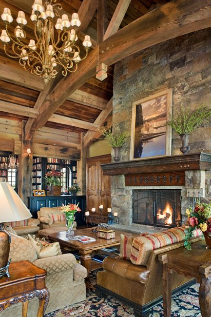 Love the high arched wood beams in the Great Room of the Old River Farm in Bozeman, MT.