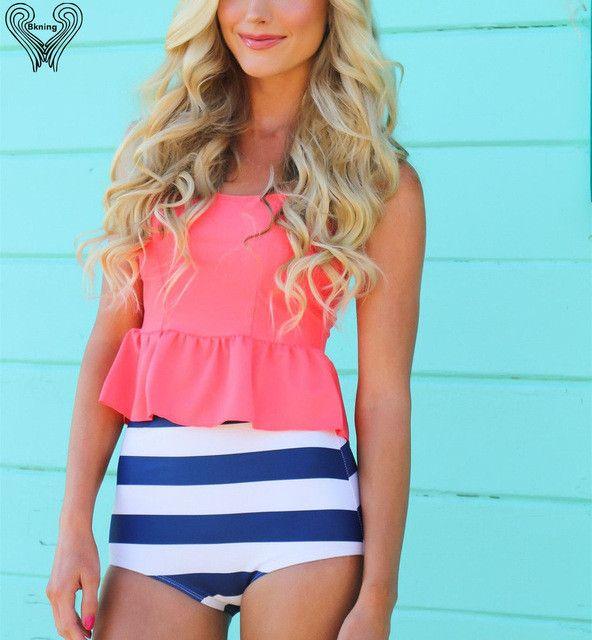 Swimwear High Waist swimsuit Two-Piece Bikini beach wear Ruffle vintage high waisted Biquini