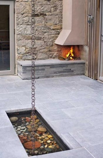 rain chain~ This is really cool~I would love one of these, and the fire place is really neat also!  Love this!