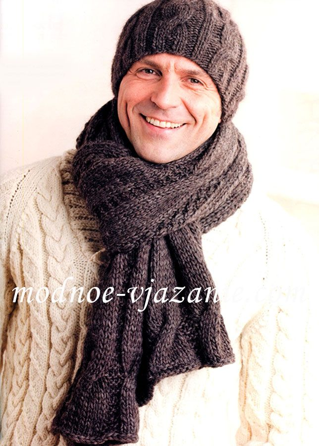 Шапка и шарф с узором из кос