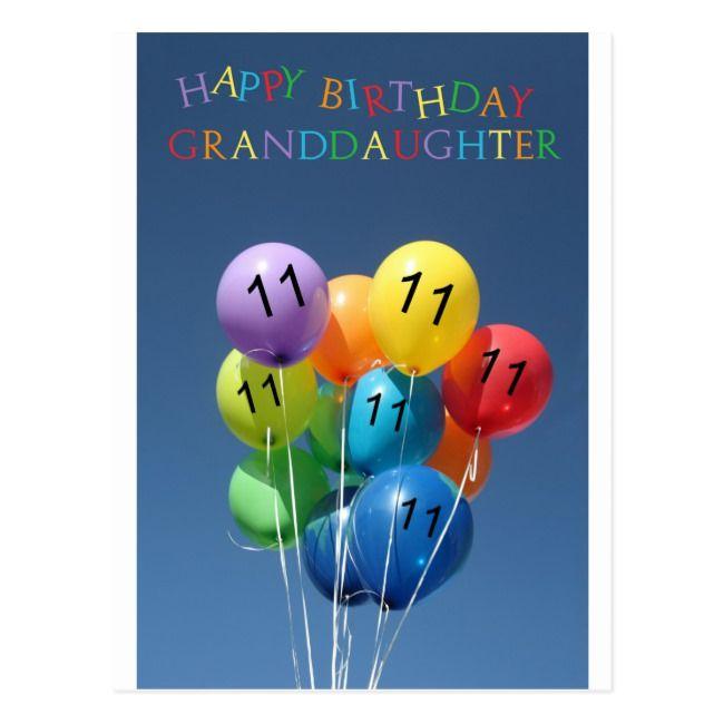 Granddaughter 11th Happy Balloon Birthday Postcard