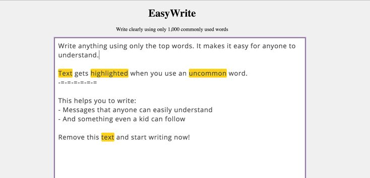 EasyWrite, An Online Text Editor Encouraging Use of 1,000 of the Most Common English Words