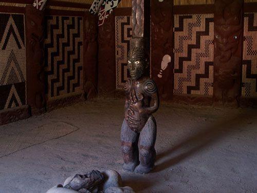 Inside a Wharenui, or traditional Maori meeting hall
