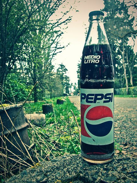 Pepsi-Cola in a glass bottle