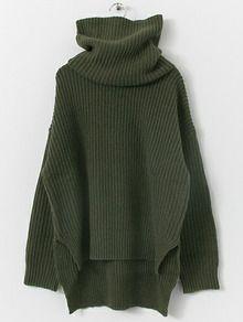 Pullover Stehkragen mit Schlitz - dunkel grün- German SheIn(Sheinside)