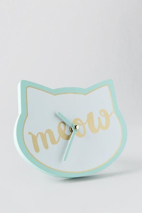 Right Meow Mint Cat Clock francesca's