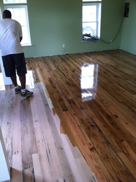 Reclaimed barn wood floor 3-4-5 face, being finished, image by - 25 Best Reclaimed Barn Wood Flooring Images On Pinterest