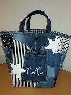 36-grand sac cabas jean et tissus noir et blanc