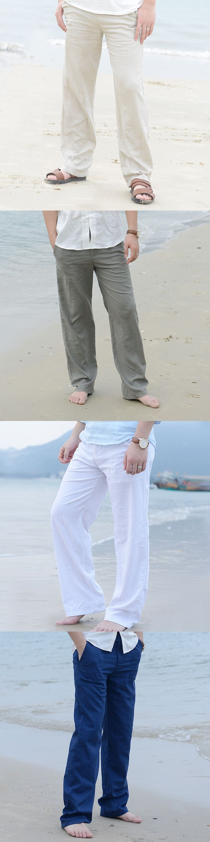 Men's Summer Casual Pants Natural Cotton Linen Trousers White Linen Elastic Waist Straight Pants