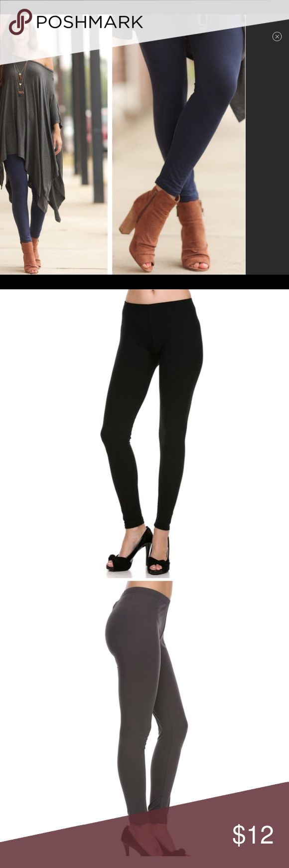 Navy, Black or Charcoal Leggings Boutique item. Brand new.  Brushed Solid Ankle Leggings in navy,Black or Charcoal  Cute and super soft brushed legging, featured in a very soft brushed peach skin fabric.  Paneled elastic waistband 92% Polyester, 8% Spandex  One size fits sizes 2-12  Price firm- only bundle discount available Pants Leggings
