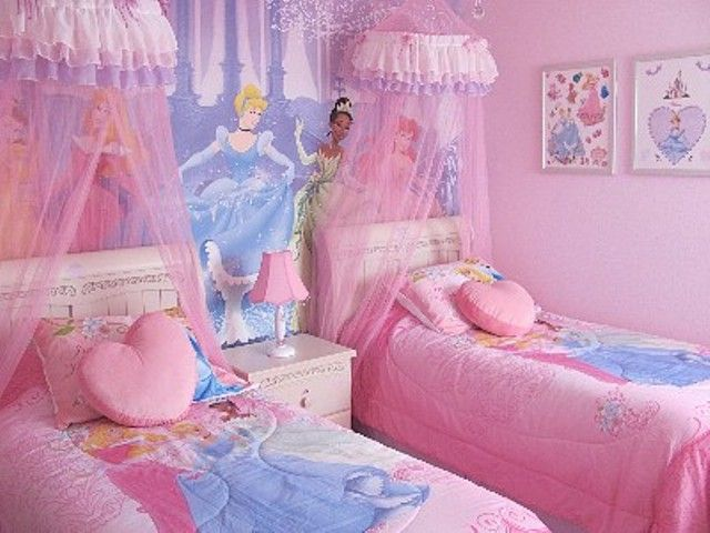 Disney princess bedroom 2 kids bedrooms and playroom for Princess themed bed