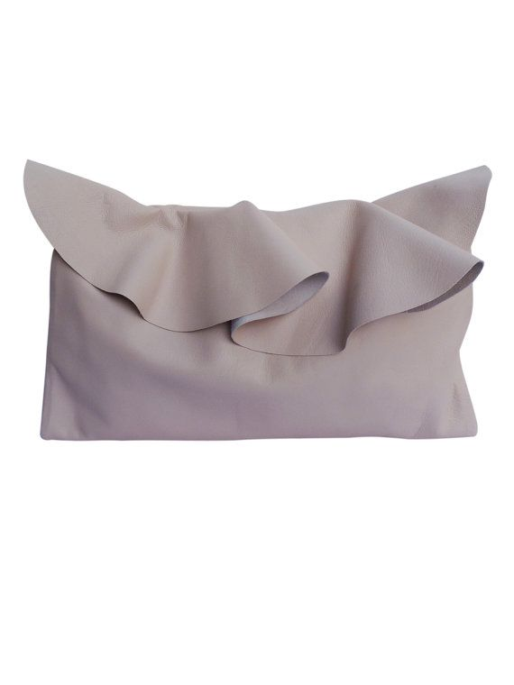 Ruffled leather clutch bag