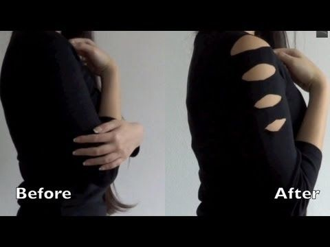 DIY do it yourself cutouts shoulder sleeve to spice up an old shirt