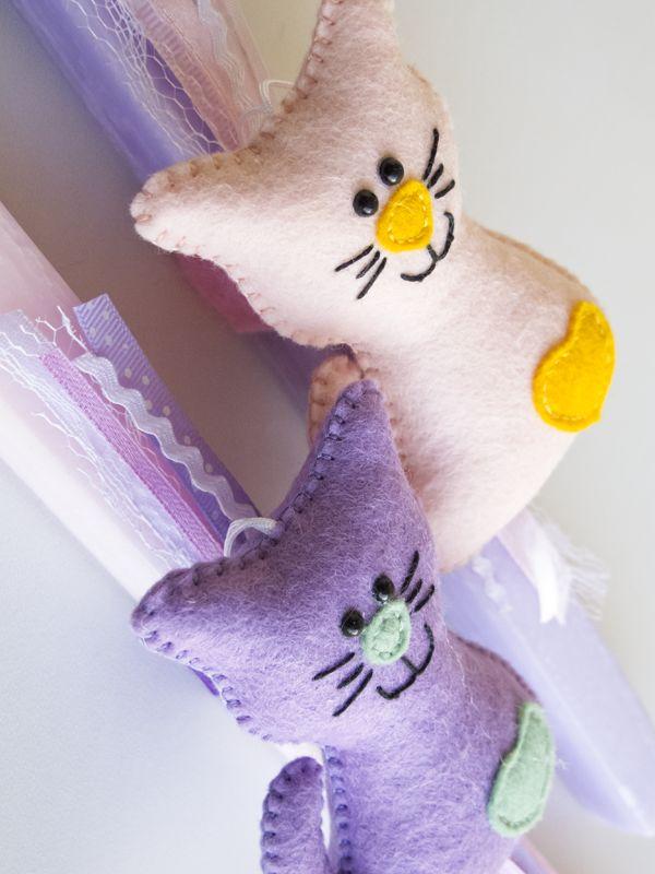 """The 3 Little Pigs """"dam"""" made stories: Λαμπάδα Γατούλα - Πάσχα 2015 - Easter 2015 (felt cat)"""