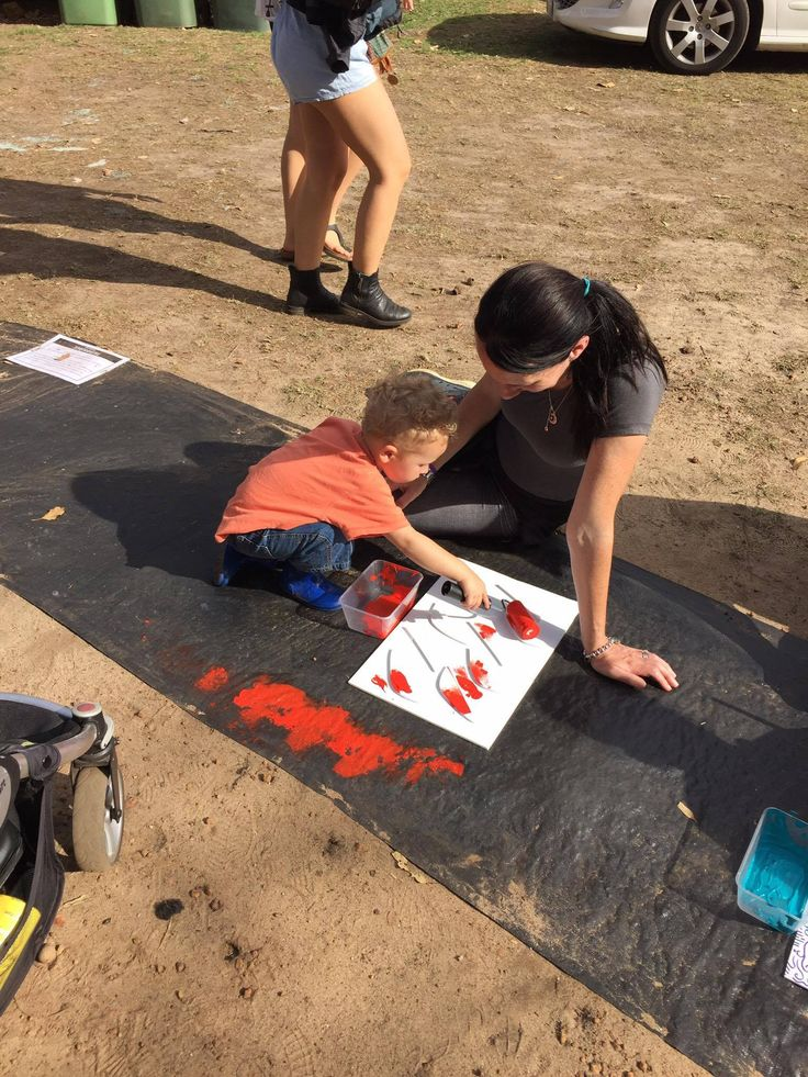 Little three year old getting involved with the Rainbow Serpent Project at Fairbridge Festival. See more at www.fairbridgefestival.com.au