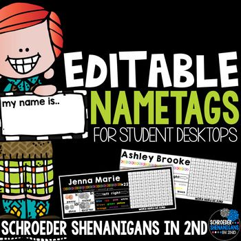 This editable student name tags can be used as a nameplate on their desk.  They are a perfect resource for your students to use all year long, too!This name tag file is an editable POWER POINT file that you can customize to add your own student names, student numbers, teacher name, and/or grade level if you chose!There are two student name tags to a page.The name tags are included with black backgrounds and white backgrounds.References included on these name tags are:color wordsleft and…