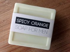 Homemade soap for men with essential oils and free printable label.