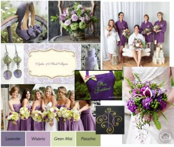 Purple And Lime Wedding Mood Board In