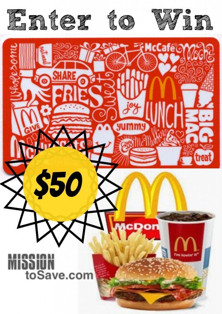 Enter to win 50 mcdonalds gift card mcdonalds