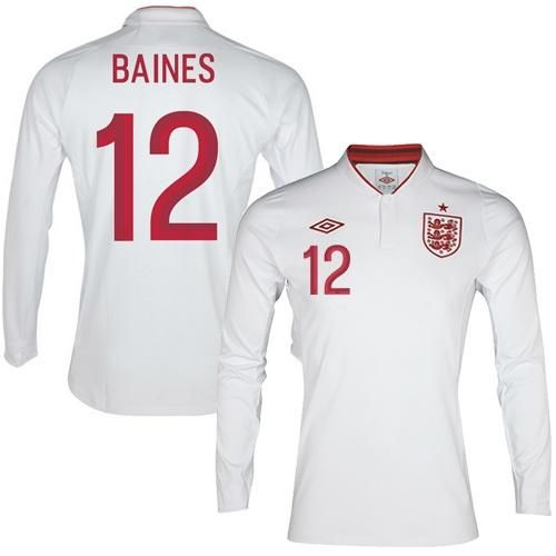 England #12 Leighton Baines Long Sleeves Home Soccer Country Jersey! Only $22.50USD