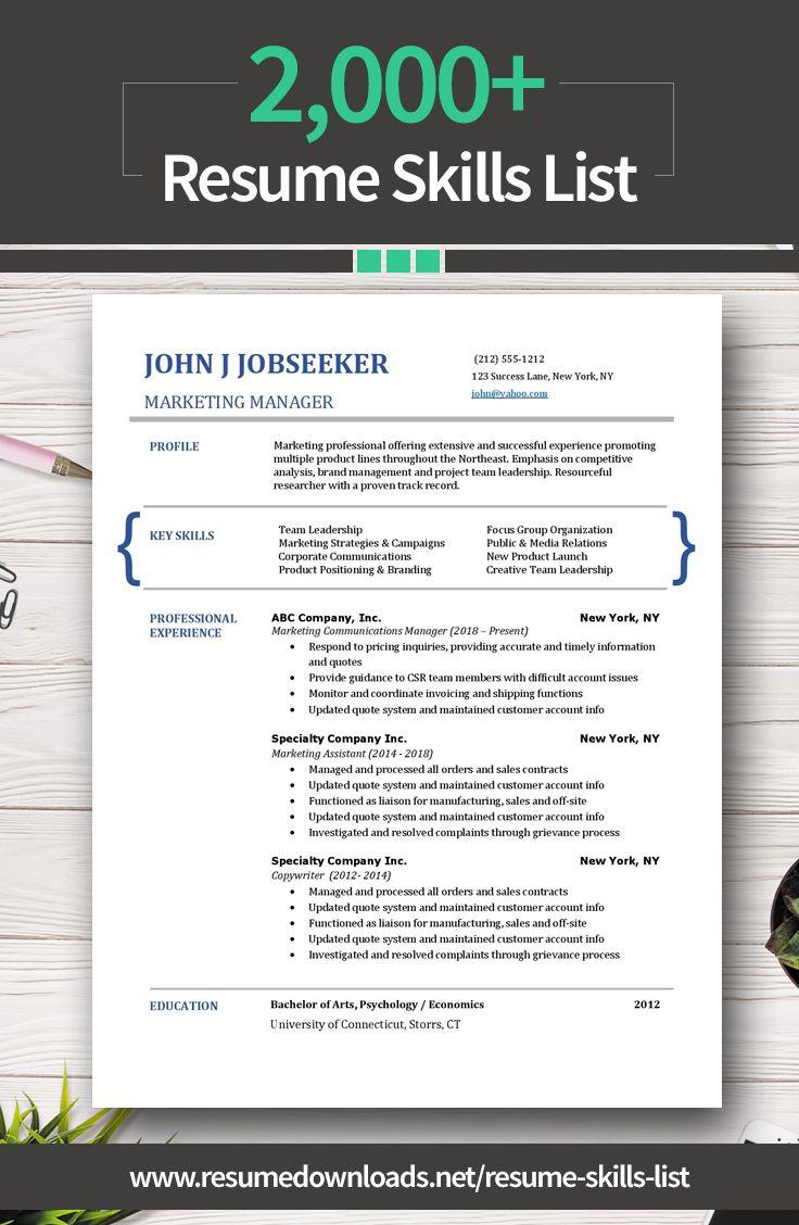 Pin On Resume Skills List