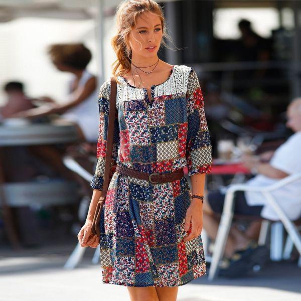 Produkty :: ŽENY :: Oblečenie :: Šaty :: Blancheporte Šaty s patchworkovou potlačou slonová kosť/modrá - Produkty