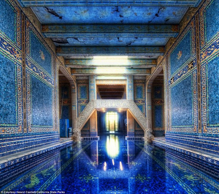 Hearst Castle was built for publishing tycoon William Randolph Hearst high on a hill half way between San Francisco and Los Angeles and was completed in 1947.  The striking indoor Roman tiled pool at the castle is one of several that dots the 165-room property in San Simeon