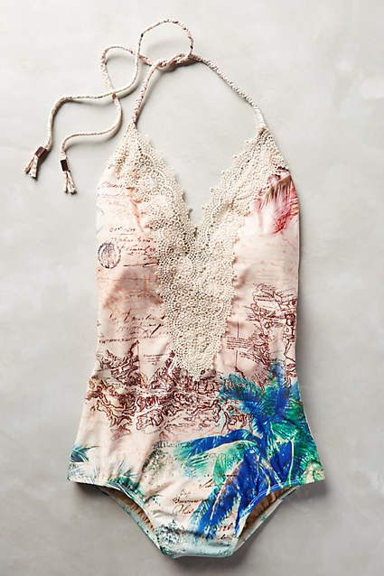 $98 Lace-Front Maillot swimsuit - anthropologie.com