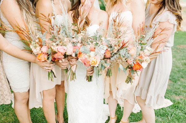 bouquets for bride + bridesmaids, photo by @Daniel Morgan Morgan Cruz styling by @Collette Vickers Vickers Budd http://ruffledblog.com/romantic-lake-gregory-wedding #flowers #bouquets #rustic