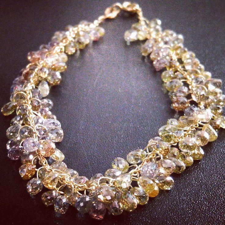 Colour Diamond Briolette Bracelet.