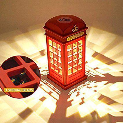 AcTopp Vintage LED Nachtlicht London Retro-Telefonzelle LED Lampe Touch Sensor Schreibtisch Nachtlicht für Schlafzimmer Beleuchtung Dekoration Aufladen über USB: Amazon.de: Beleuchtung