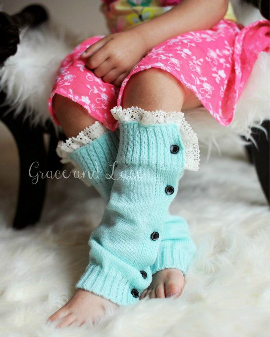 SALE The Mini Molly - GIRLS mint teal Soft Slouchy Button Down leg warmers Ivory Knit Lace - girls leg warmers baby legs in 5 colors on Etsy, $17.50