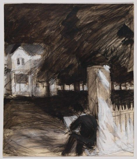 Study of a Man Sketching in Front of a House  -   Edward Hopper   1900  American 1882-1967