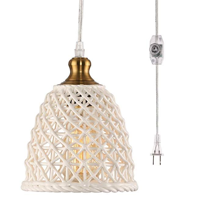 Hmvpl New Ceramic Plug In Pendant Lights With 16 4 Ft Hanging Cord And On Off Dimmable Switch Unique Swag Plug In Pendant Light Pendant Lighting Ceiling Lamp