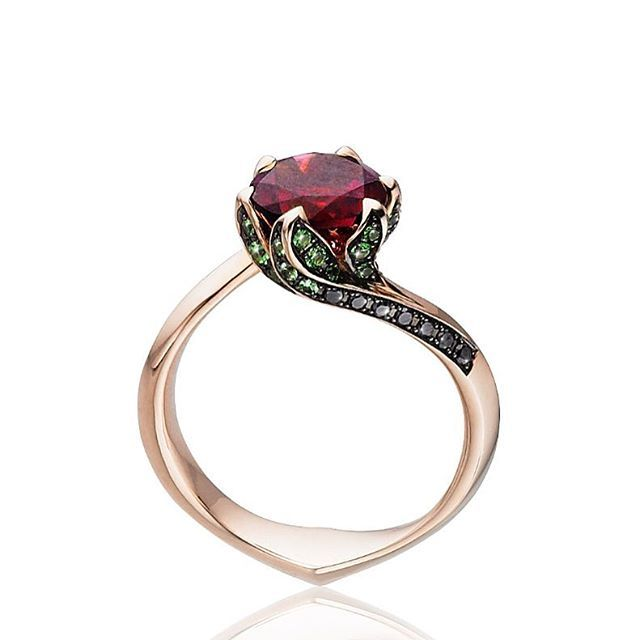 "Out favourite engagement ring from the collection ""The Garden of Good and Evil"". Available in tsavorite, black diamond. Rose gold and rubellite centre stone or all white.  #rubellite #tomaszdonocik #alternativeengagementring #tomaszdonocikarchives #stoneandstrand"