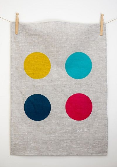 Bright colours on rustic linen tea towel by Ivy & Lil
