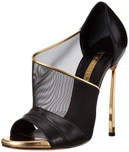 Casadei Women's Gold Heel Mesh Dress Sandal, Nero/Oro