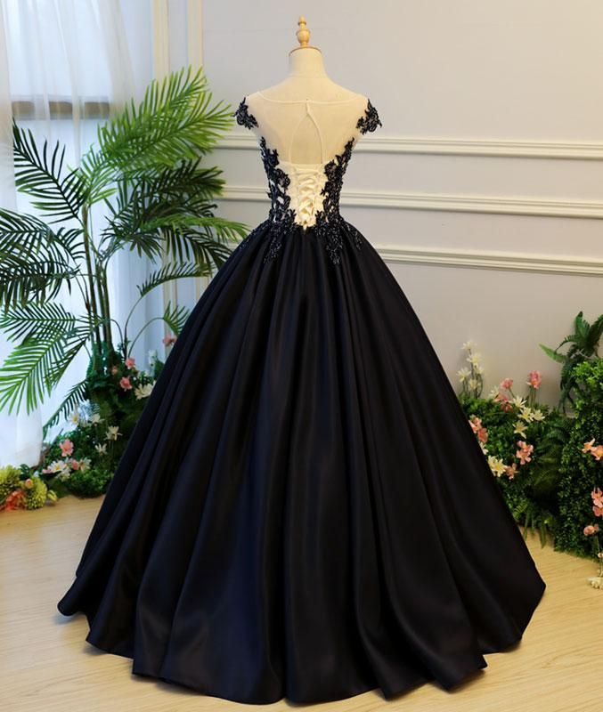 e3cf1cf5a1cc Generous A-Line Round Neck Cap Sleeves Lace-up Back Black Satin Long Prom  Evening Dress With Beading on Luulla
